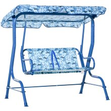 Outsunny Kids Two-Seater Swing Chair Garden Seat w/ Belt Adjustable Canopy Blue