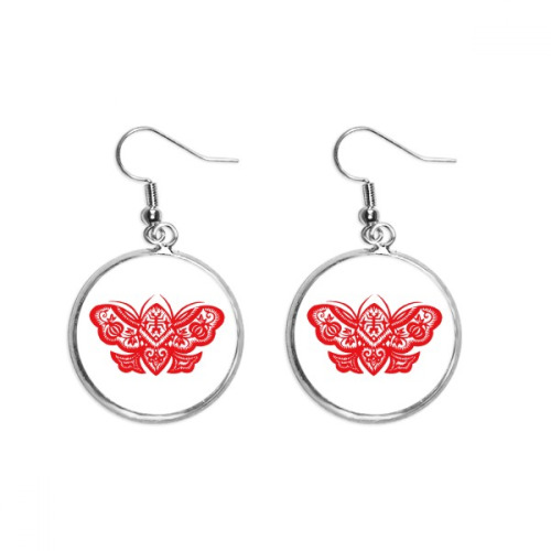 Red Traditional Chinese Paper Cutting Ear Dangle Silver Drop Earring Jewelry Woman