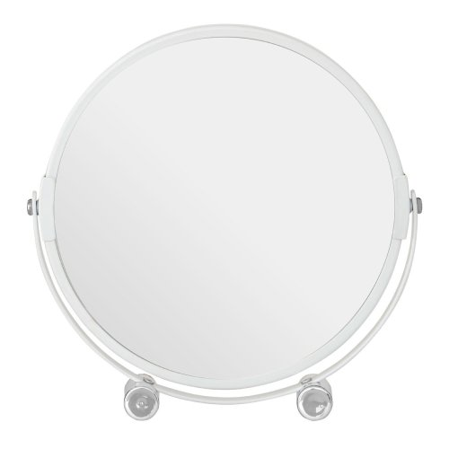 Premier By Prime Furnishing Adjustable White Metal Swivel Table Mirror For