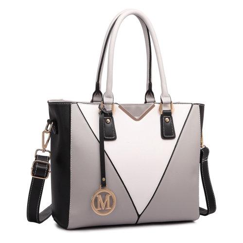 Miss Lulu V-Shape Faux Leather Handbag | Shoulder Tote Bag