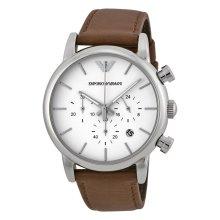 Emporio Armani Mens Chronograph Watch Brown Leather Strap White Dial AR1846