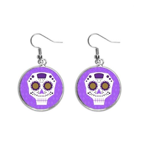 Flower-shaped Purple Eyes Skull Culture Illustration Ear Dangle Silver Drop Earring Jewelry Woman
