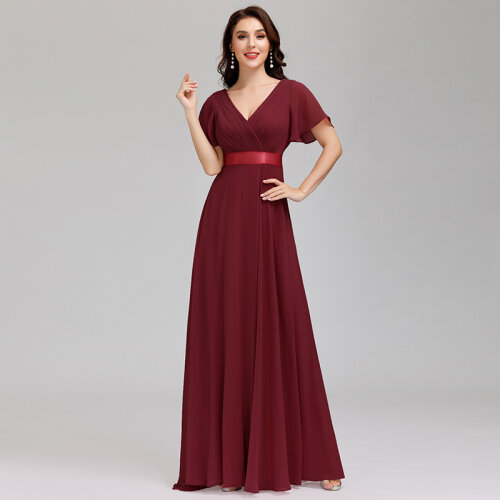 Maxi Long Chiffon Evening Dress with Short Sleeves