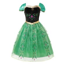 Anna Dress up for Girls Fever Anna Coronation Kids Princess Cosplay Party Wear Floral Gown Carnival Costume