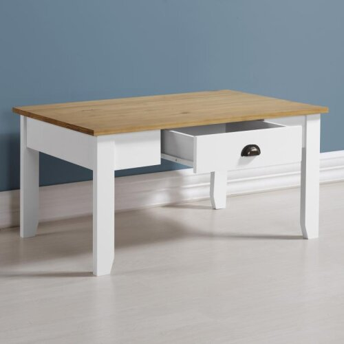 Seconique Ludlow White & Oak Lacquer 1 Drawer Coffee Table