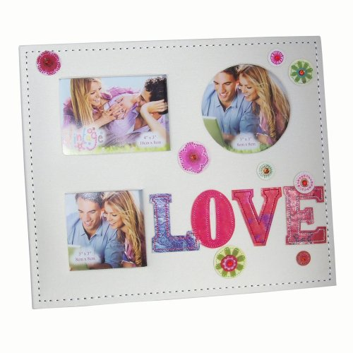 """Valentine's """"Love"""" 3 Aperture Embroidered Photo Frame In a Gift Box"""