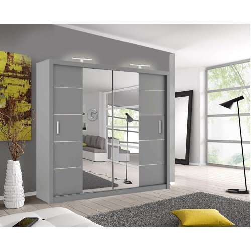 Top Quality 3+2 Sliding Door wardrobe with 4 size and 3 color with 2 LED