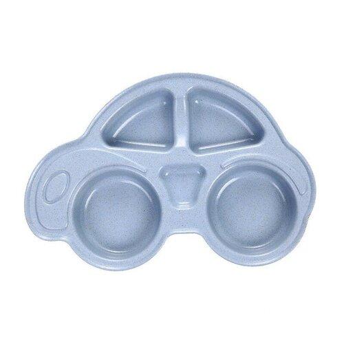 (blue) Baby Dishes Cartoon Car Shape Plate - Kids Dinnerware Tableware Tray