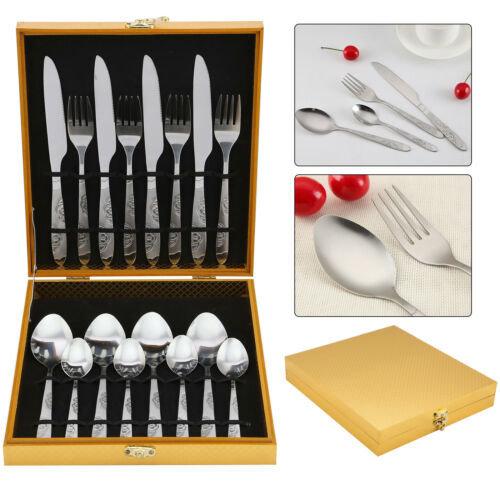 16x Cutlery Set Stainless Steel Tableware Kitchen Dining Forks Spoons Dinnerware