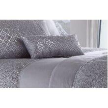 Shimmer Silver Grey Petite Filled Cushion Sequin Diamante 18cm x 32cm