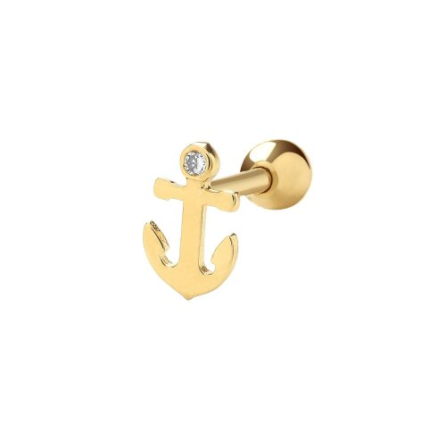 9ct Yellow Gold Nautical Cz Anchor Cartilage 6mm Post Screw Back Single Stud Earring - Real 9K Gold