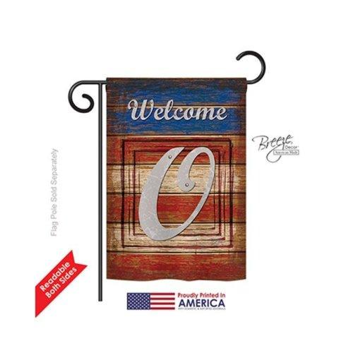 Breeze Decor 80119 Patriotic O Monogram 2-Sided Impression Garden Flag - 13 x 18.5 in.