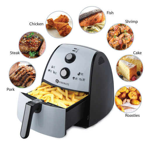 PureMate 4L Air Fryer Low Fat Oil Free Healthy Air Fryer 1500W White