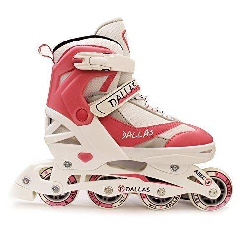 (11 UK Child - 13 UK Child) California Pro Dallas Children's Girls Adjustable Inline Roller Skates White/Pink