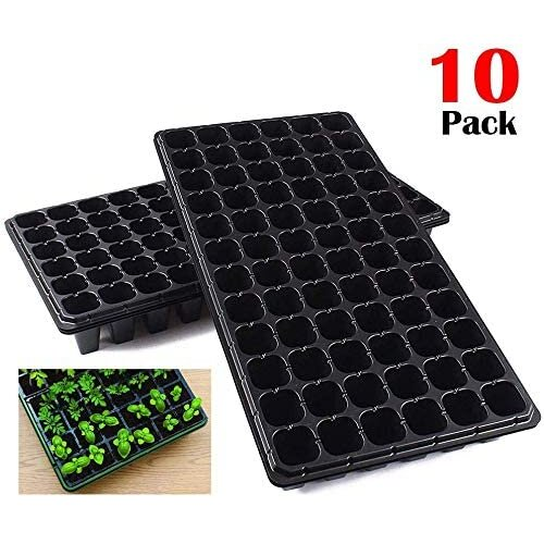 10 Pack Seed Starter Kit, 72 Cell Seedling Trays Gardening Germination Plastic Tray Nursery Pots Mini Propagator Plant Grow Kit