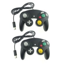 2X Black Nintendo Gamecube Controller Fits Official GC & Wii Console