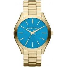 Michael Kors Slim Runway Rose Gold/Blue Ladies Watch MK3265 New With Tags