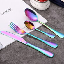 (Rainbow) 32pcs Cutlery Sets Fork for Dining