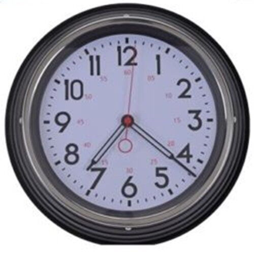 Large Retro Metal Wall Clock Red Black & Grey