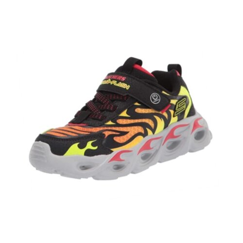 (9.5 UK Child) Boys Skechers Thermo Flash Light up Trainers in Flame and Black