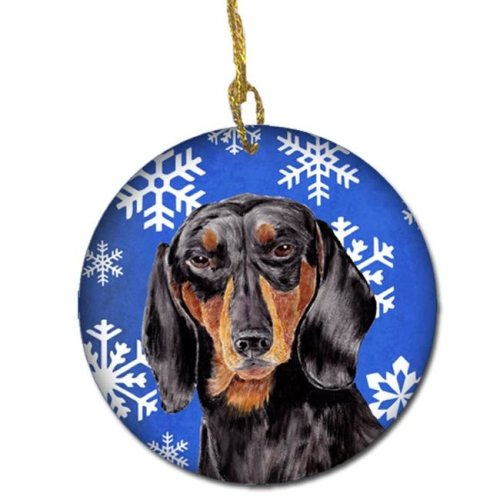 Dachshund Winter Snowflakes Holiday Ceramic Ornament