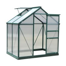 Outsunny Galvanised Aluminium Walk-In Greenhouse - 6 x 4ft