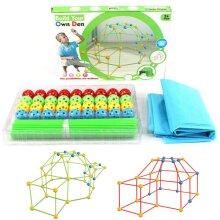 87 Pcs DIY Build Your Own Den Set Kids Present Fort Construction Building Toy