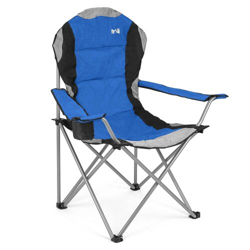 (Blue) Folding Camping Chair Luxury Padded Heavy Duty High Back Directors Cup Holder