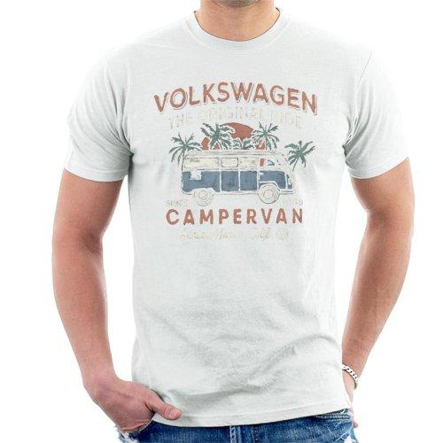 (Large, White) Official Volkswagen The Original Ride Campervan Men's T-Shirt