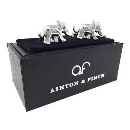 Ashton and Finch Indian Elephant Cufflinks in a FREE Luxury Presentation Box. Novelty Elephant Animal Theme Jewellery