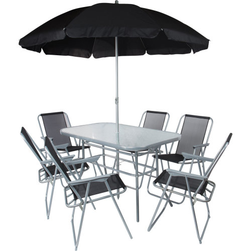 8pc Kingfisher Garden Dining Set | 6 Seater Garden Table & Chairs