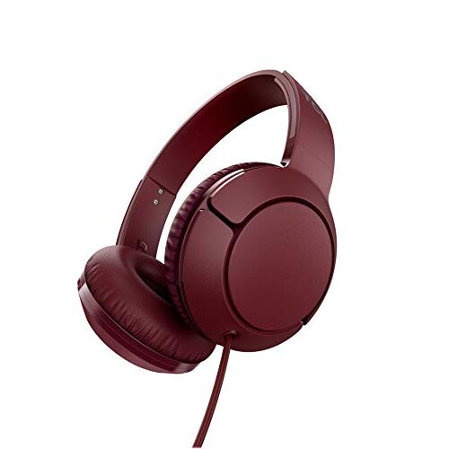 TCL Mtro200 On-Ear Wired Headphones Super Light Weight Headphones with 32mm Drivers for Huge Bass and Built-in Mic - Burgundy Crush