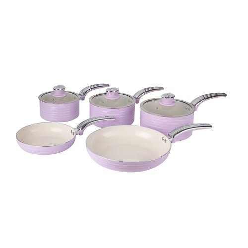 Swan Pink Retro Non-Stick 5pce Pan Set, 3 Saucepans 16/18/20cm, 2 Frying Pans 20/28cm with Tempered Glass Lids & Compatible with Induction Hobs