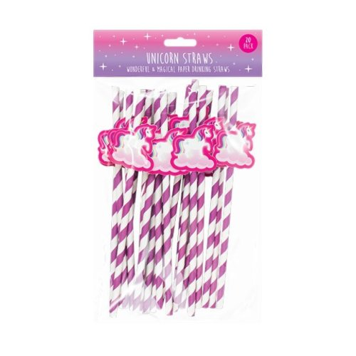 20 x Unicorn Novelty Fun Paper Straws Striped Design Party-Ware Parties Christmas