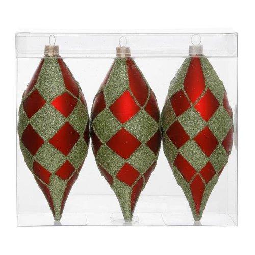 Vickerman N143674 Red Lime Diamond Glitter Drop Ornament - 4.7 in. - 3 Per Box