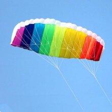 Dual-line Parafoil Kites Flying Rainbow Sports, Beach Stunt Kite With Handle Ripstop Nylon Outdoor Kitesurf