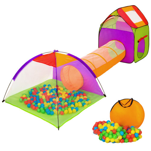 Large play tent with tunnel + 200 balls for kids colorful