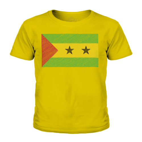 (Gold, 9-10 Years) Candymix - Sao Tome E Principe Scribble Flag - Unisex Kid's T-Shirt