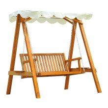 Outsunny 2 Seater Wooden Wood Garden Swing Chair Seat Hammock Bench Furniture
