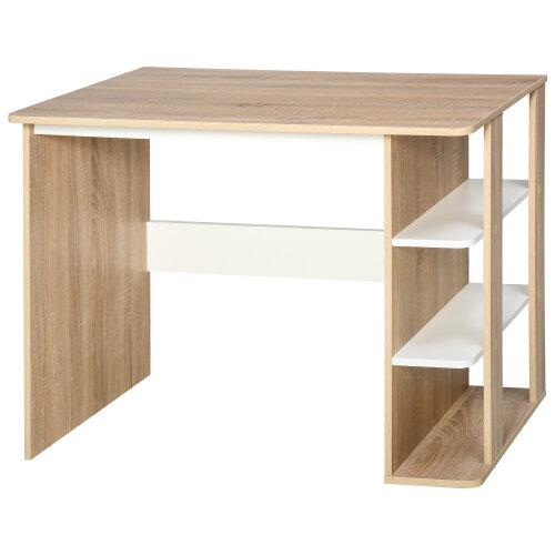 HOMCOM Duo Work Desk & 3-Tier Side Shelves Wide Table Sturdy Frame 2-In-1 Office