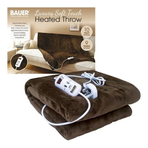 Brown Luxury Soft Heated Throw Blanket with Timer & 10 Heat Settings - 120x160cm