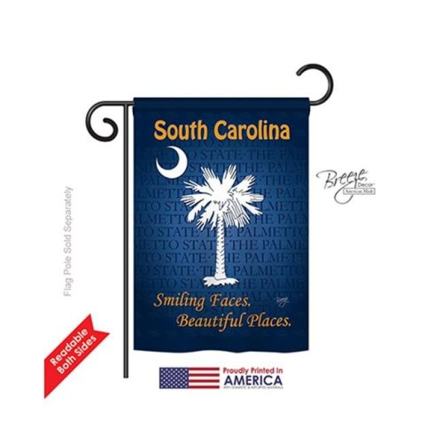Breeze Decor 58148 States South Carolina 2-Sided Impression Garden Flag - 13 x 18.5 in.