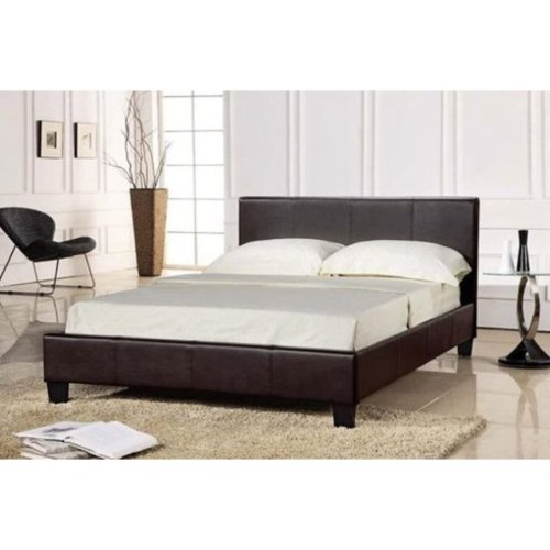 (4ft6 Double, Brown) Easton Faux Leather Bed Frame
