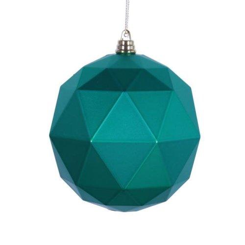 6 in. Seafoam Green Matte Geometric Christmas Ornament Ball - 4 per Bag