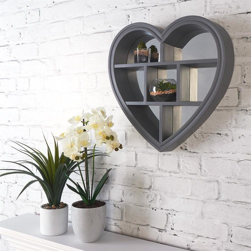 Grey Heart Mirror Shelf