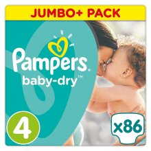 86 Pampers Baby Dry Nappies  ~  Size 4  ~  9-14kg