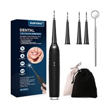 Electric Dental Calculus Remover, SUNVING Teeth Cleaning Kit with 4 Replacement Heads Plaque Remover for Teeth Tartar Scraper Dental Stains Scaler for
