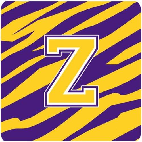 Monogram - Initial Z Tiger Stripe - Purple Gold Foam Coasters, Set - 4