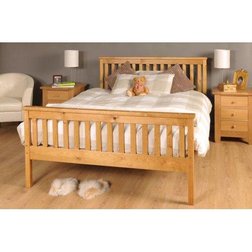 (4ft6 Double, Caramel) Comfy Living 'Talsi' Wooden Bed Frame