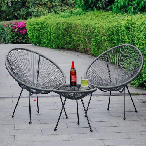 (Grey) Rattan Garden Bistro Table and Chair Patio Furniture Set